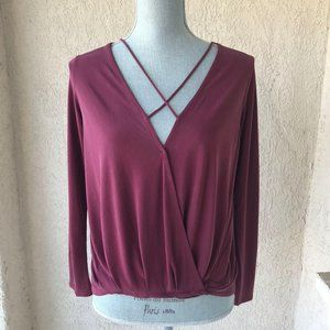 Antho Alya Plum Strappy Wrap Front Long Sleeve Top